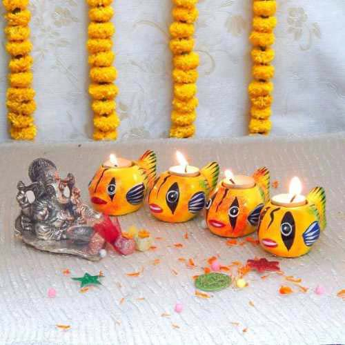 Lord Ganesh With Diya - Australia Delivery Only