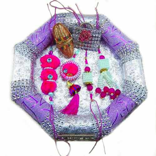 Handmade family Rakhi Tray - 14 - CANADA Delivery Only