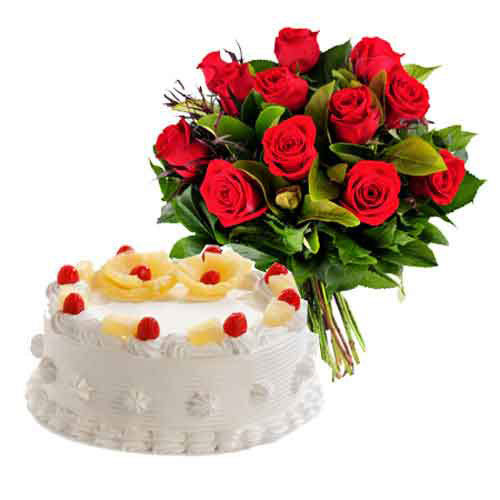 Red Roses & Cake Combo - India Delivery Only