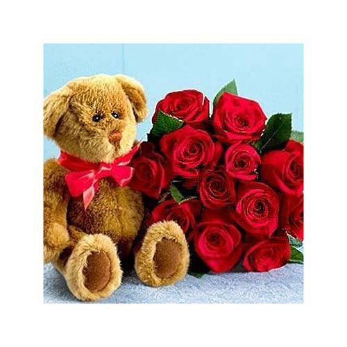 One Dozen Red Roses with Bear - Iceland Delivery Only
