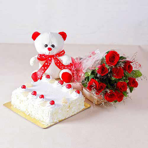 Flower's Cake & Teddy - India Delivery Only