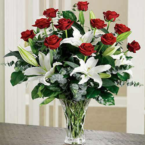 Red Roses & Casablanca Lily Arrangement - Greece Delivery Only