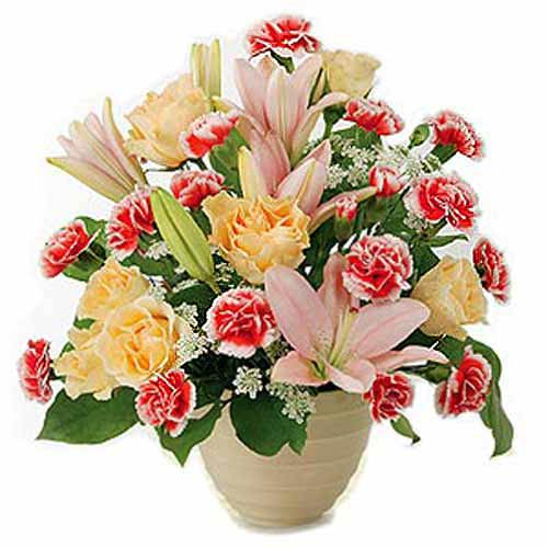 Carnations And Lilies Arrangement - Portugal Delivery Only