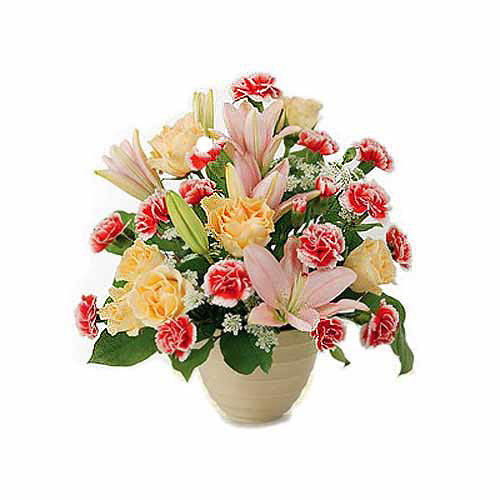 Carnations And Lilies Arrangement- Tajikistan Delivery Only