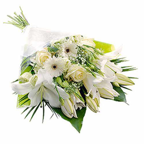 Pearl White Bouquet - Belgium Delivery Only