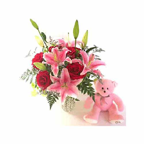Roses Lilies and Teddy - Laos Delivery Only