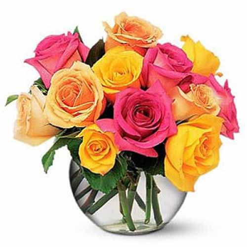 Multi-Color Rose Bowl - Bahrain Delivery Only