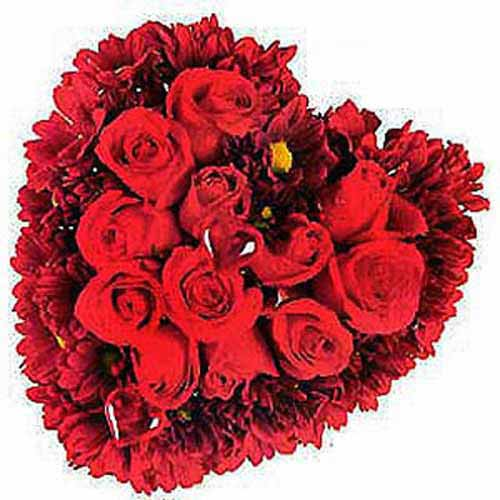 Heart Shaped Arrangement Of Roses