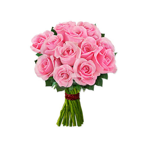 One Dozen Pink Roses - Uzbekistan Delivery Only