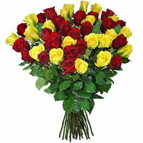 24 Yellow And Red Roses Bouquet - sweden Delivery Only