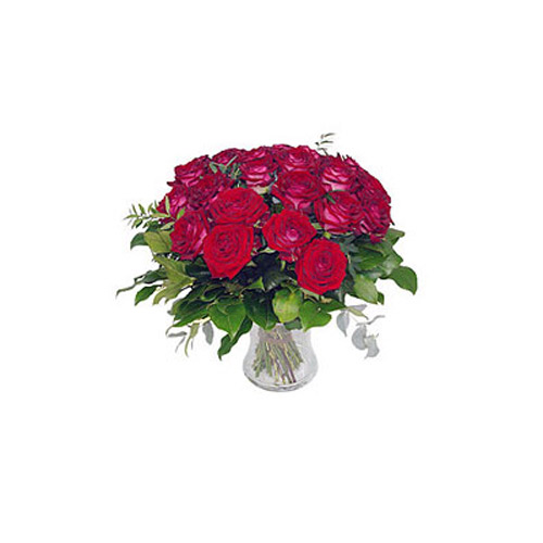 12 Premium Roses In Vase - Malaysia Delivery Only