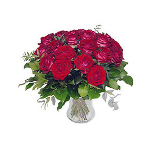 12 Premium Roses in Vase - Spain Delivery Only
