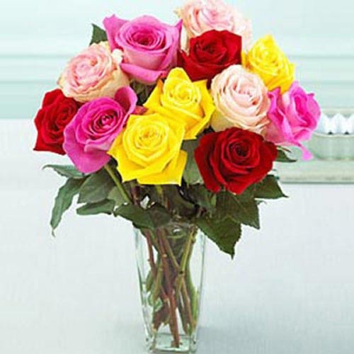 Bouquet Of Multicolor Roses - Spain Delivery Only