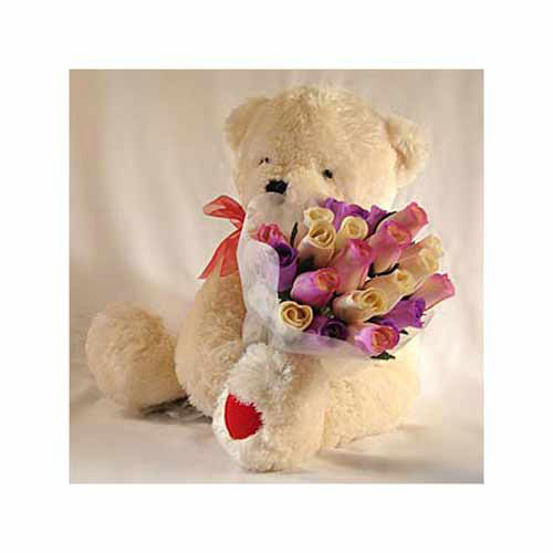 Beary Rosy Bouquet - Uzbekistan Delivery Only