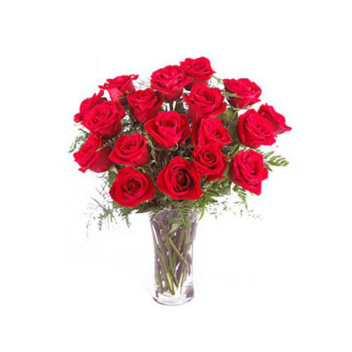 18 Red Roses In Vase - Philippines Delivery Only