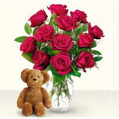 Dozen Red Roses And Teddy - Indonesia Delivery Only