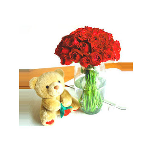 Dozen Red Roses And Teddy - Turkey Delivery Only