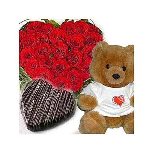 Dozen Red Roses and Teddy - Vietnam Delivery Only