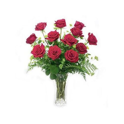 Dozen Red Roses In Vase - Puerto Rico Delivery Only