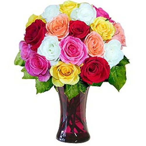 18 Mixed Long Stem Roses - Azerbaijan Delivery Only