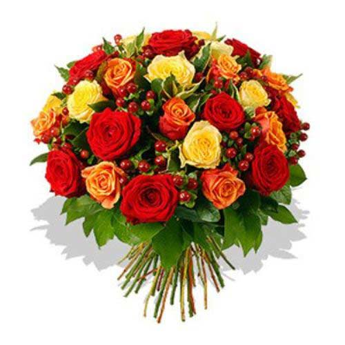 35 Orange Red And Yellow Roses