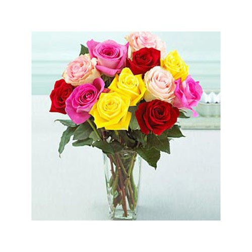 Bouquet Of Multicolored Roses In A Vase - Malaysia Delivery Only
