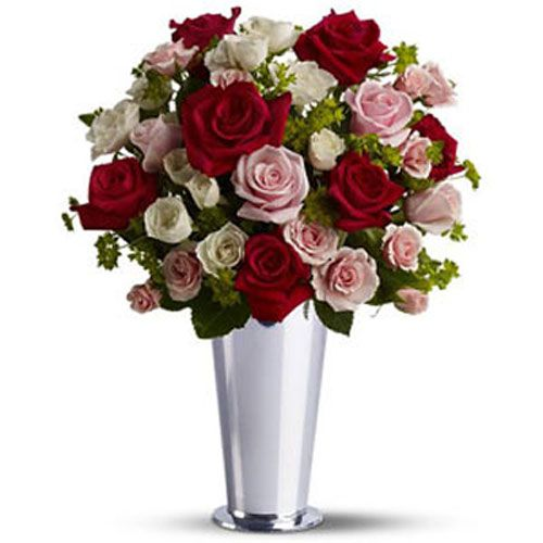 White Pink and Red Roses - Argentina Delivery Only