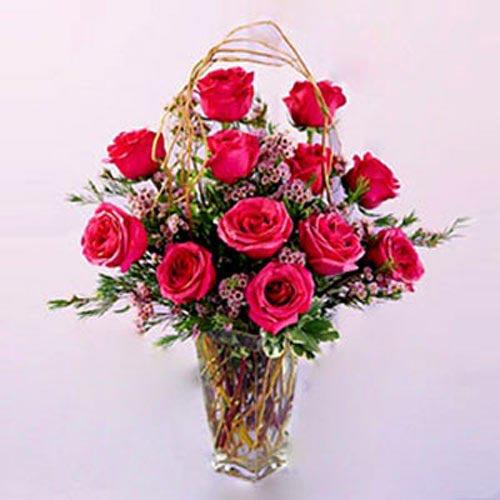 18 pink roses in a vase - Jordan Delivery Only