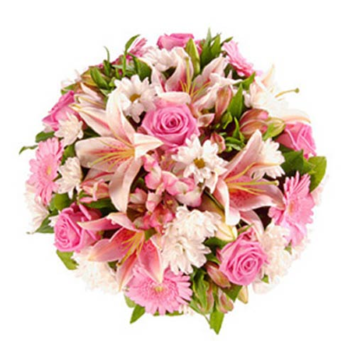 Pink Lily Rose Funeral Posy - France Delivery Only