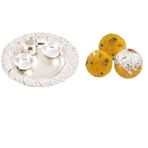 German Silver Thali With Besan Shahi Laddoo - 11028