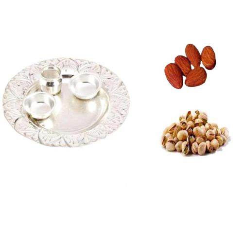 German Silver Thali With Pista & Badam - 11062