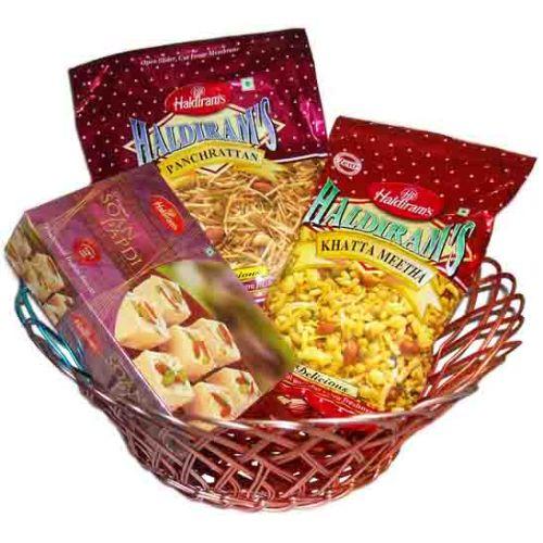 Basket Gift Hamper With Sweets & Namkeen - 52