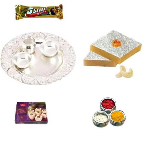 German Silver Thali Hamper with Sweets