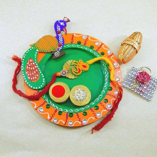 Peacock Wooden Puja Thali