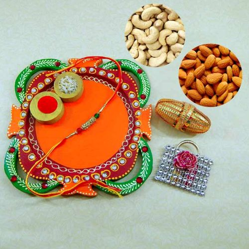 Multi Colored Rakhi Thali with Kaju / Badam