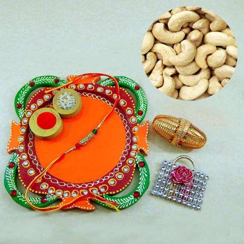 Multi Colored Rakhi Thali with Cashews 200 grm.