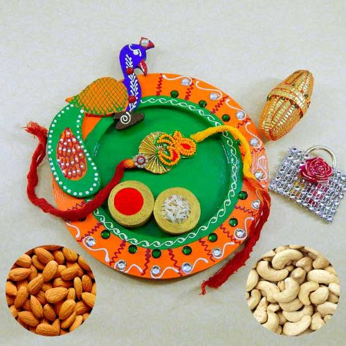 Peacock Wooden Puja Thali with Almond & Cashew