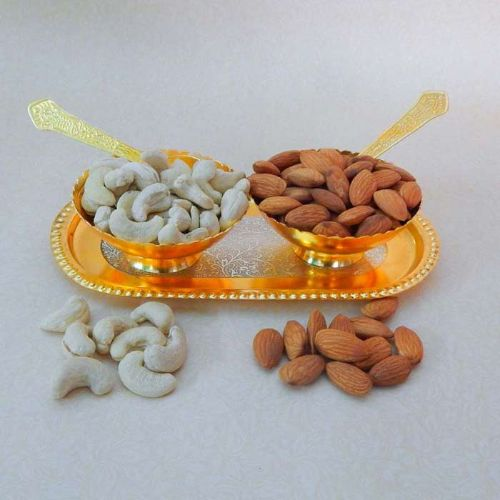 Golden Bowl with Almonds and Cashew In Gift Box