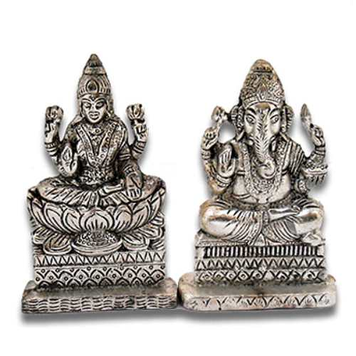 White Metal Ganesh Laxmi - 24 - Canada Delivery Only