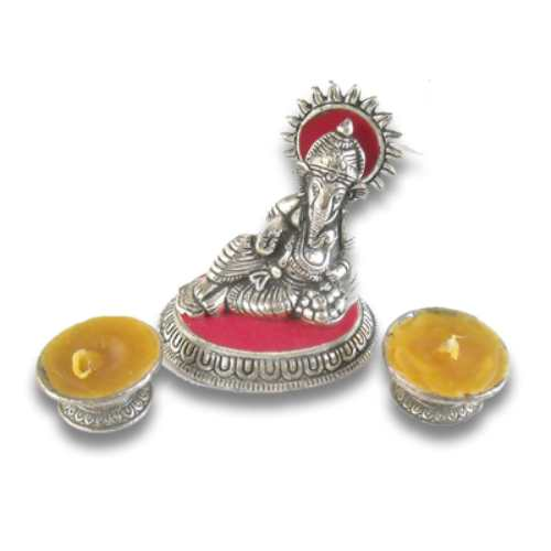 Lord Ganesh With Two Wax Diya - 45 - Canada Delivery Only