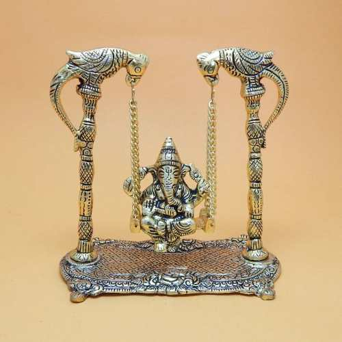 White Metal Lord Ganesh On Jhoola