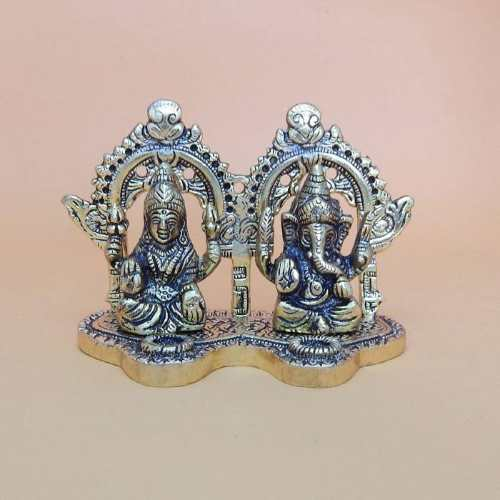 White Metal Ganesh & Lakshmi - Canada Delivery Only