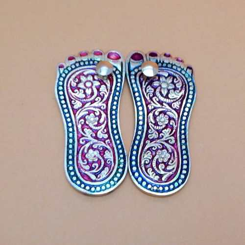 Meenakari White Metal Charan Paaduka - UK Delivery Only
