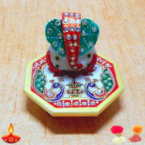 Meenakari Lord Ganesh On Marbel Chowki - Australia Delivery Only