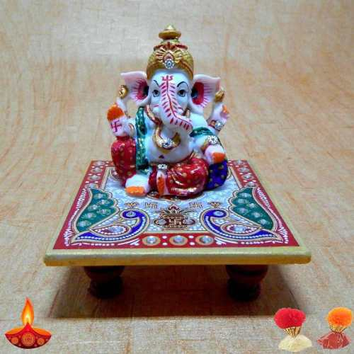 Auspicious Lord Ganesha On Mrable Chowki