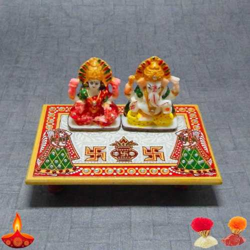 Lord Ganesha & Goddess Lakshmi On Marble Chowki