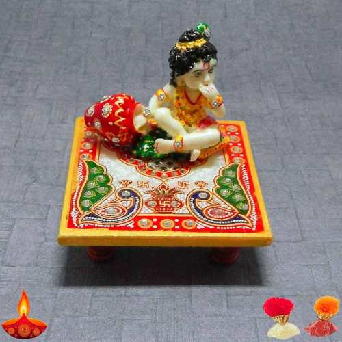 Lord Krishna Eating Maakhan On Marble Chowki - Australia Deliver