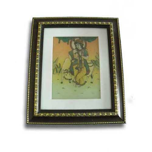 Natural Gem Stone Lord Krishna Painting