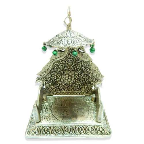 White Metal Singhasan with Swastik - 11031- Canada Delivery Only