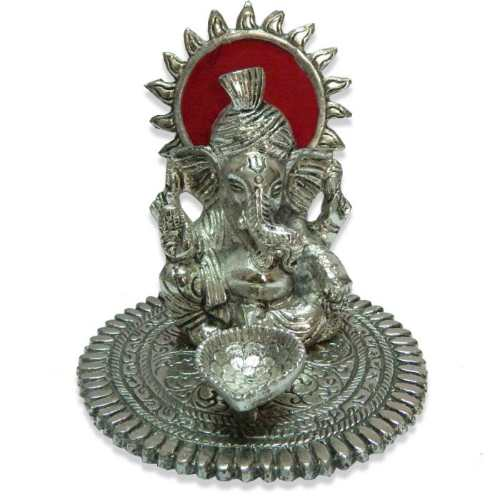 White Metal Lord Ganesh With Deep - 11039 - Canada Delivery Only
